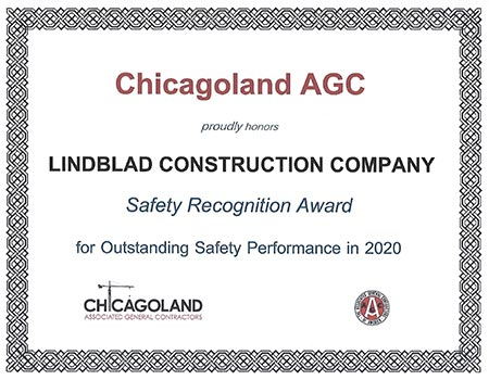 Chicagoland AGC - Lindblad Construction Safety Award 2020